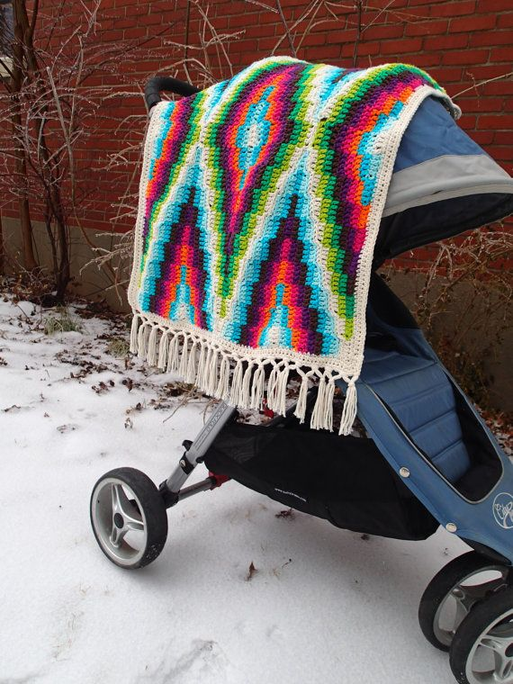 Modern Bohemian Baby Blanket Crochet Pattern, PDF Instant Download, Non-Profit Shop, Baby, Stroller, Car Seat, Afghan, Rug