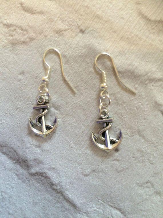 Silver Anchor Earrings Silver Earrings Nautical Earrings