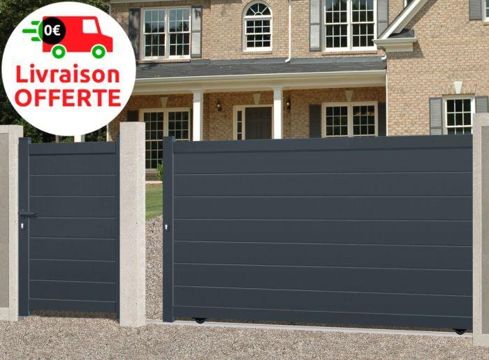 Portail Coulissant Alu Plein Sirius 3 5m X 1 80m Zenith Menuiserie Mr Bricolage Portail Coulissant Portail Portail Portillon