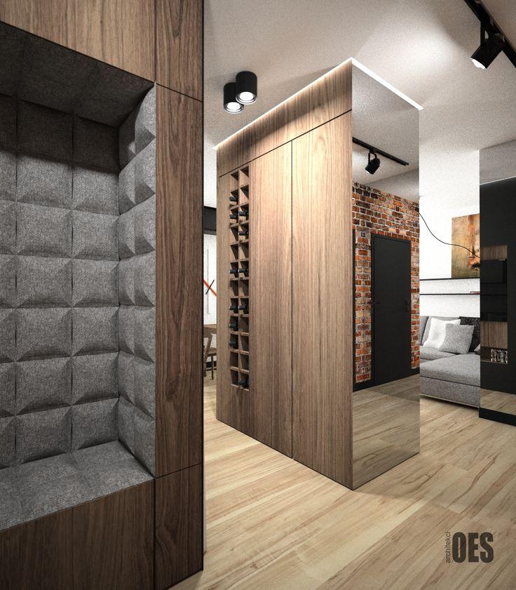 #zabudowawolnostojąca wolnostojąca zabudowa oddzielająca pomieszczenia o różnej funkcji, siedzisko tapicerowane, lustro na ścianie, drewno w salonie