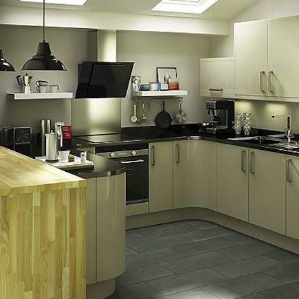 Kitchen-compare.com | B&Q IT Santini Gloss Grey Slab