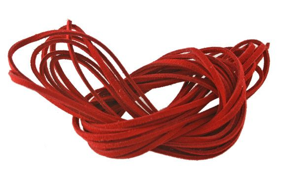 Scarlet Red  FAUX WOOL SUEDE Leather Cord 3x1.5mm. by NatureBeads, $3.50
