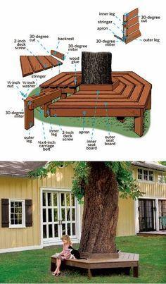 bench around tree - outside benches (DIY idea) .   Interior Design