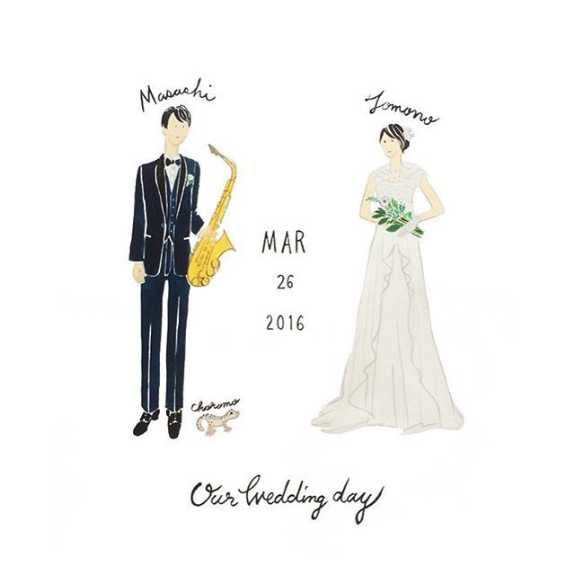 Our Wedding Day 💕🎷 リクエストでアルトサックスとペットのヤモリちゃんを描きました🎶    #cuicui_illustboard #cuicui_wedding #イラスト #illustration #illustrator #プレ花嫁 #ウェルカムボード #welcomeboard