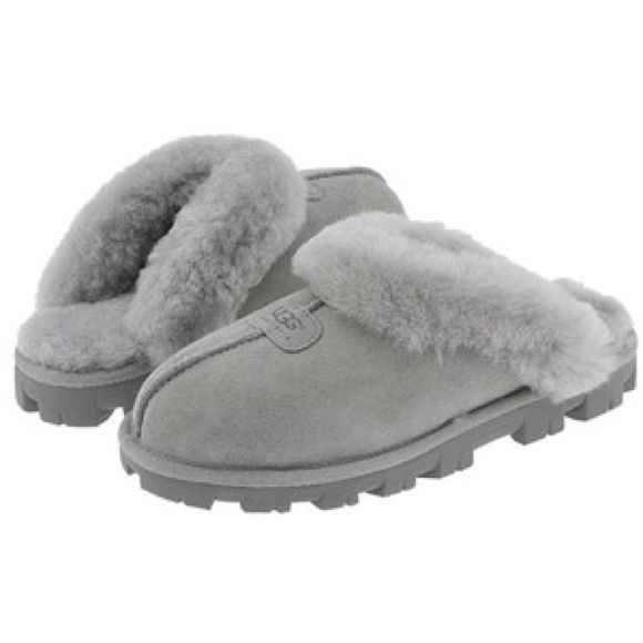 Ugg slippers Grey ugg slippers (worn only inside for the most part). Small stain on the side of left shoe. Really warm and convenient I just use my ll bean moccasins more so no need for 2 pairs of slippers. UGG Shoes Slippers