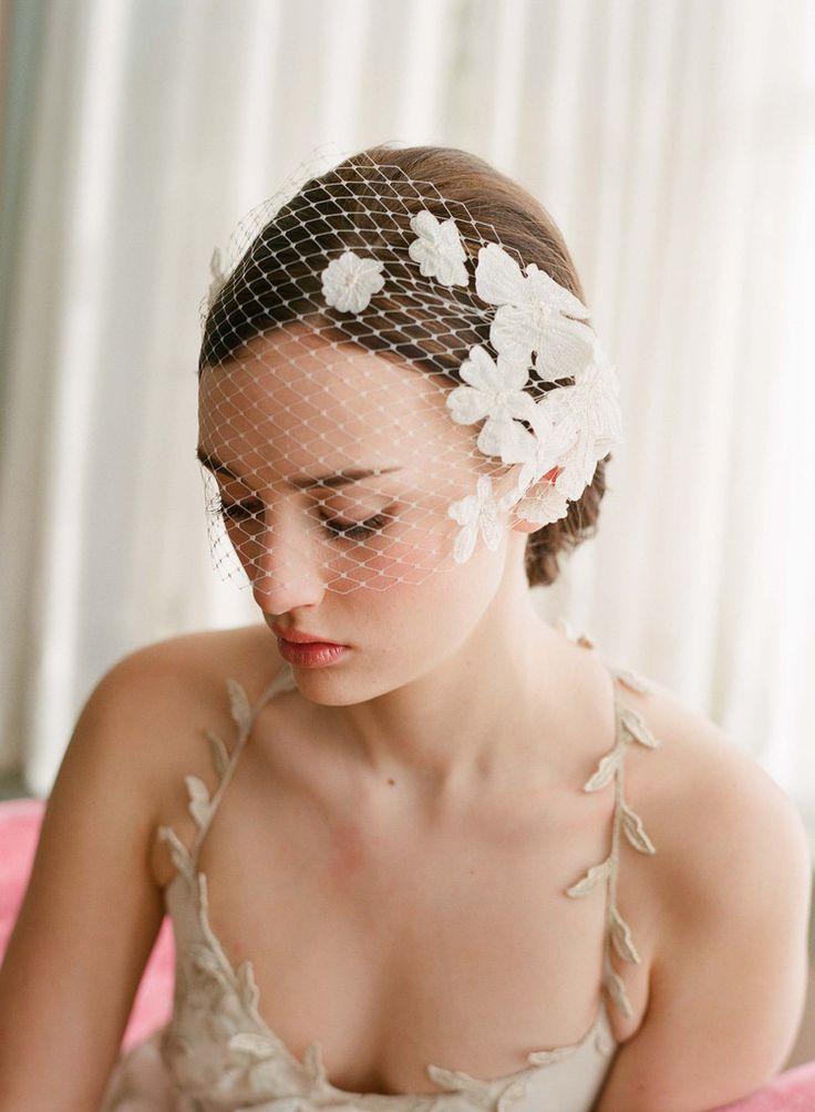 Lace embellished bandeau birdcage veil - Style # 214   Twigs & Honey ®, LLC