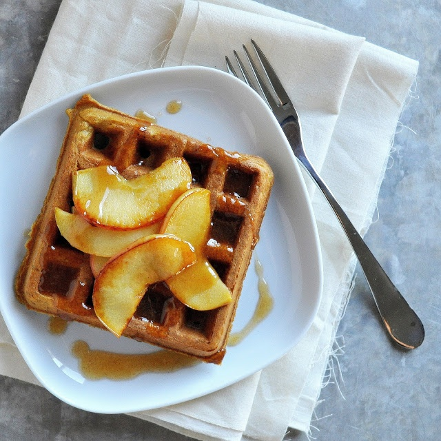 Waffles with Caramelized Apples & Apple Cider Syrup [syrup: no sugar ...