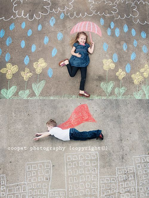 Cute cover idea and a way to include several students. Coopet Photography: side walk chalk