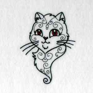 "Swirly Cat, Swirly Cat how are they stitching you?  Sorry, I couldn't resist adding a little ""Friends"" to this free embroidery design.  :-)"