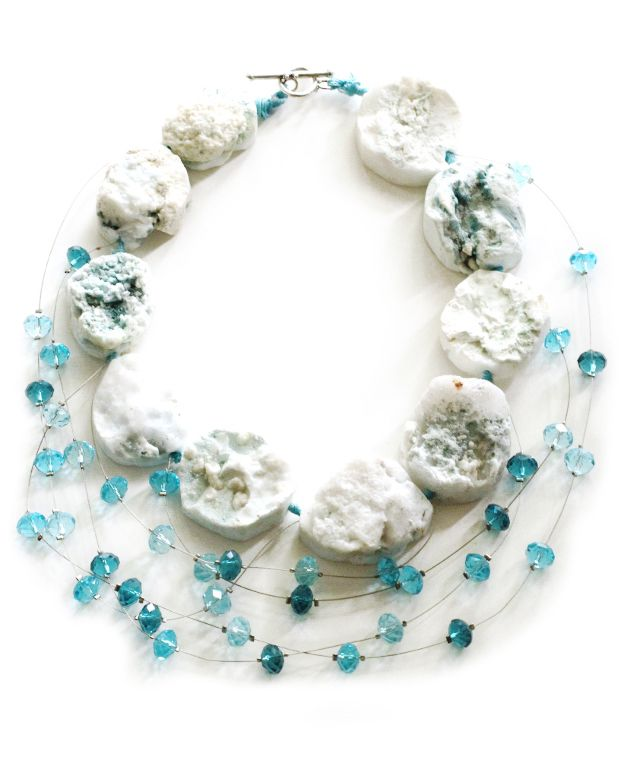 Calcite Candy Necklace: Calcite, Nylon-Coated Stainless Steel Wire, Glass Beads