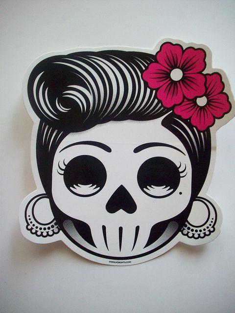 Rockabilly Sugar Skull image with shears | Day of the Dead Skull Girl Sticker | Flickr - Photo Sharing!