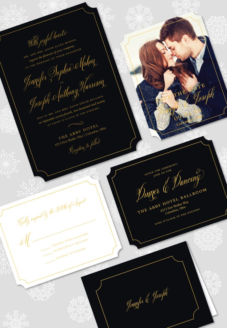 wedding reception directions card%0A Simply Shining Foil Pressed Wedding Suite  Included Invitation  Save the  Date  Reply Card