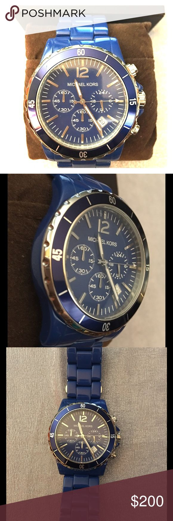 Michael Kor Royal Blue Ceramic Watch This watch is stunning and such a brilliant blue color. All stainless steel with a ceramic band. MK-5271 Michael Kors Accessories Watches