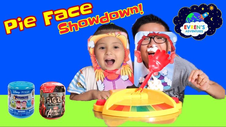 PIE FACE SHOWDOWN CHALLENGE!! Whipped Cream Pie to the Face Family Board Game Surprise Toys Review. Join Evren, Daddy and Evren's cousin unboxing the Pie Face Game and took turns in playing to see who wins in the end. Whoever got the least whipped cream in the messy face game challenge, that person will win the prize. The winner gets mashems surprise toys from Disney Pixar and Mini Figz Mini Collectibles Marvel Avengers Assemble.
