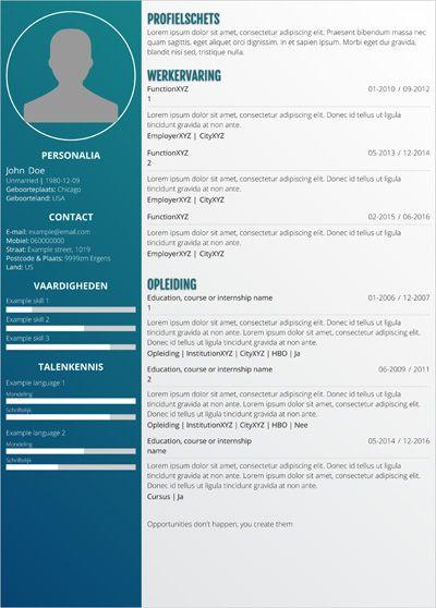 <p>Met dit CV-sjabloon maak je direct een unieke indruk tijdens het solliciteren! Dit professionele ontwerp toont jouw ervaring en vaardighedenop een unieke en kleurige manier. Zo kun je dit cv gebruiken on jezelf te onderscheiden van alle andere kandidaten. Je kunt dit cv zelf in Word kunt bewerken. Dit is een one page CV</p>