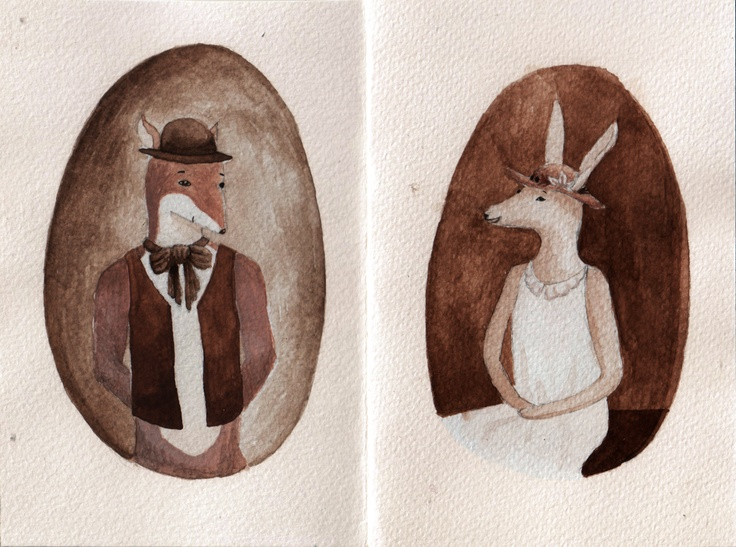 Double portrait of Mr. Fox and Ms. Bunny