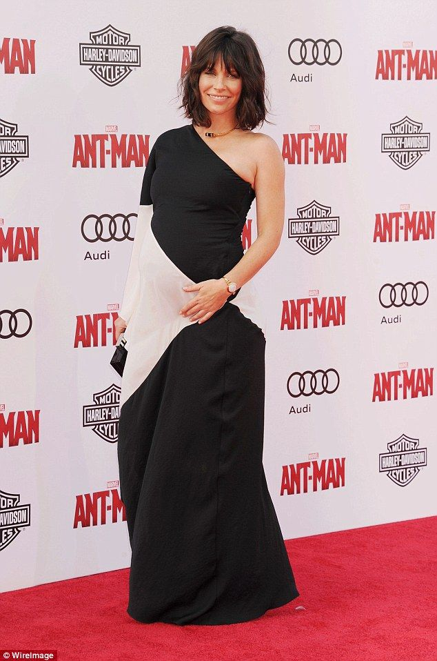 Bumped:The brunette beauty announced her pregnancy in June at the premiere of her summer ...