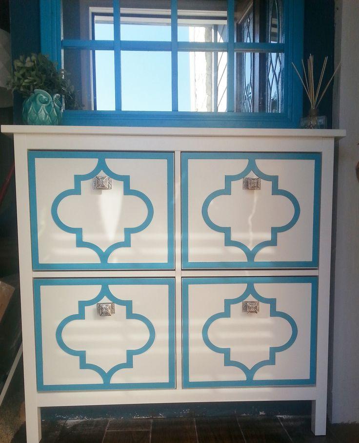 jasmine painted on the ikea hemnes shoe cabinet