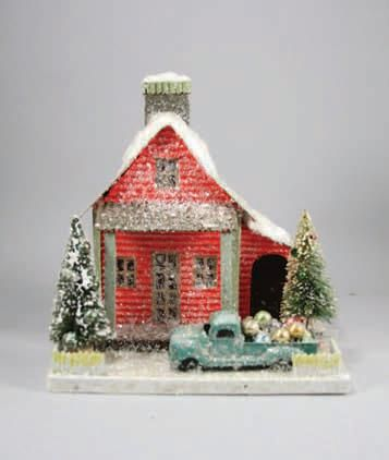 Glittered Putz Paper Country House with Old Truck. Christmas Village.