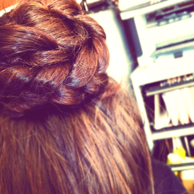 Thank you pinterest for the endless hair inspiration. This is my braided bun. Super easy, fun bun