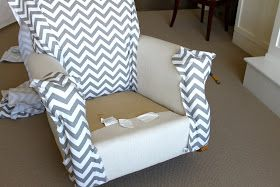 Easy no-sew wingback chair upholstery tutorial