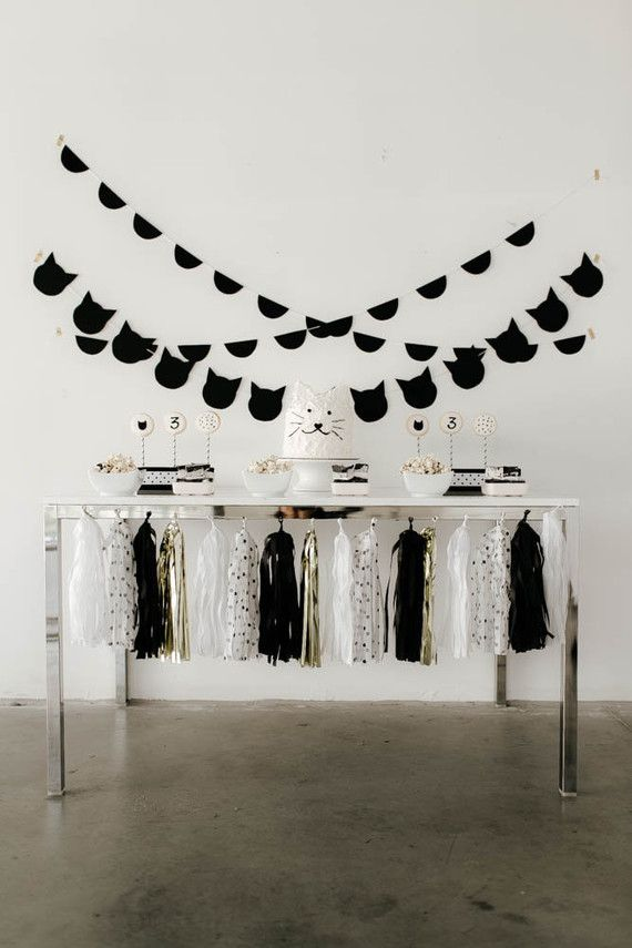 Black and white kitty birthday party