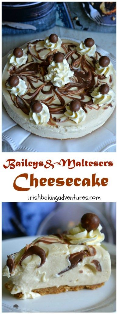 The most DECADENT Baileys & Maltesers Cheesecake. It's completely no-bake rich and delicious! A really dreamy dessert for a special occasion