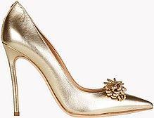женские туфли-лодочки, тонкий высокий каблук, острый мыс с цветком, золотистые