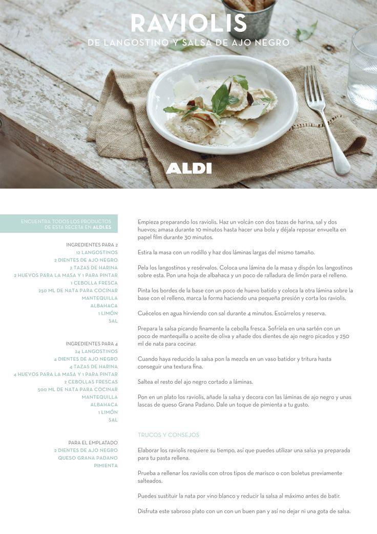 Si quieres probar esta receta, descubre el paso a paso y la videorreceta aquí: https://www.aldi.es/navidad-a-tu-gusto/raviolis-de-langostino-y-salsa-de-ajo-negro.html