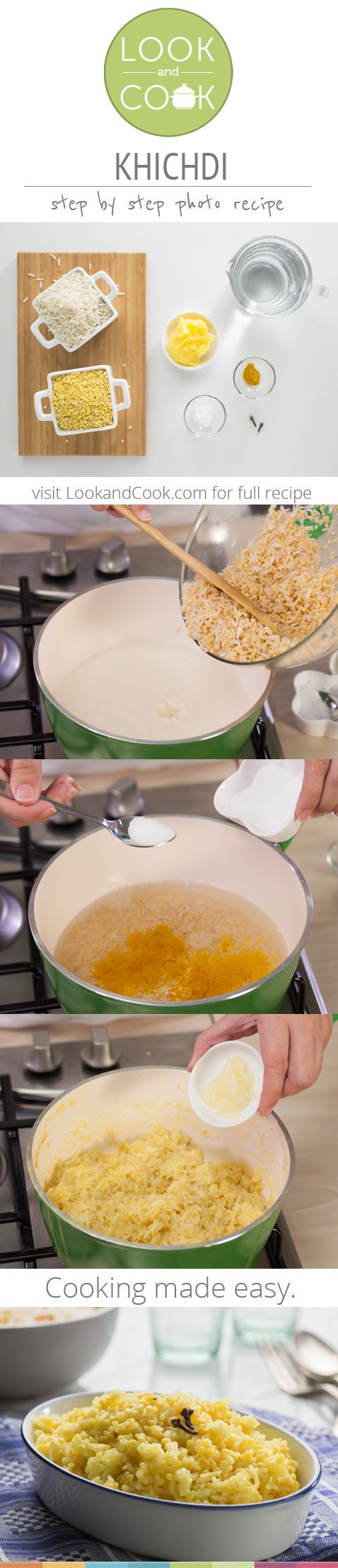 KHICHDI RECIPE Khichdi recipe (#LC14142): This Moong Dal Khichdi is a wholesome comfort food cooked with rice and tastes best when served with some hot ghee.Get step by step photo recipe at lookandcook.com