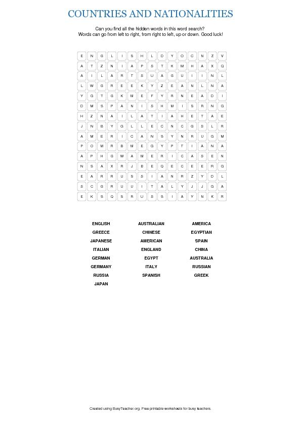 countries and nationalities worksheet teaching abroad pinterest country word search and. Black Bedroom Furniture Sets. Home Design Ideas