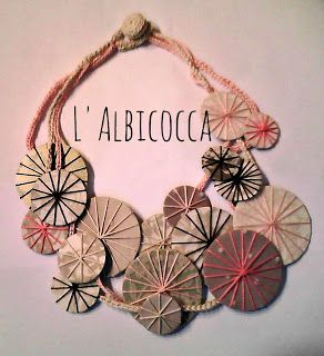 Tutorial fotografico per collana con cerchi di cartone e cotone (riciclo). Necklace Tutorial to Recycle:  - Cardboard caps of ice cream cones packaging - Holed socks and stockings