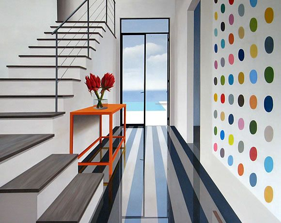 I would love a colorful polka dot wall in my home. Weekend project perhaps?: House Design, Beach Houses, Red Flowers, 2009 Oil, Beaches Houses, Mckinley Paintings
