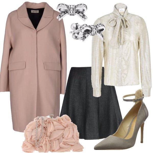 Un abbinamento che starebbe davvero bene con dei capelli raccolti con uno chignon, molto ordinato che fa Bon Ton. Indossiamo: camicia lamè, in crêpe, con collo con fiocco, a maniche lunghe, con polsini con bottoni, gonna in fresco di lana, modello a ruota, cappotto rosa, in flanella, scarpe in nabuk, borsa a tracolla in raso e chiffon, orecchini a lobo, a fiocchetto.