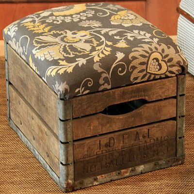 Vintage Milk Crate Turned into Unique Ottoman Tutorial  -  Like the carpet.  Consider if wood floors prove to be too expensive