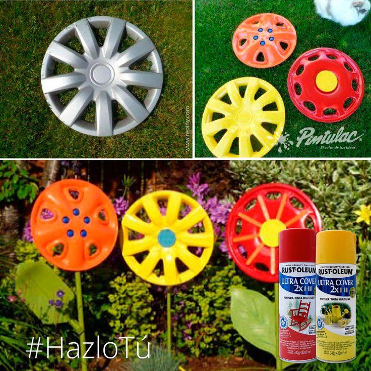 #HazloTú: Realiza estos originales adornos para tu jardín . Solo necesitas tapacubos de tu auto que ya no uses y spray #RustOleum 2X Ultra cover de tu color favorito.