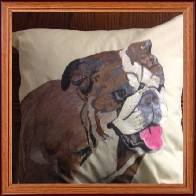 Dog I hand painted on a cushion