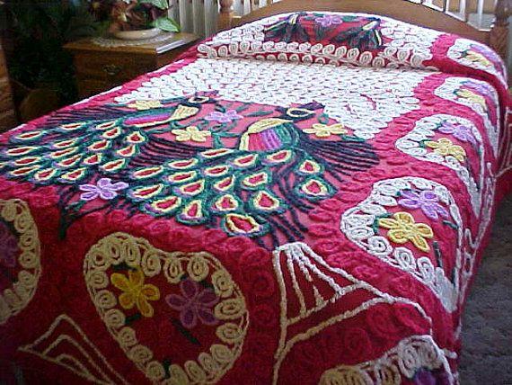 SALE  1950 peacock chenille bedspread white swirls  by designer2, $165.00