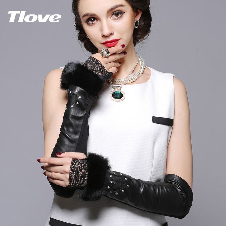 >> Click to Buy << Lady Long and Half Finger Sheepskin Gloves  Fashion Lace Gloves Cute Rabbit Cuff Stage Performance Gloves Oversleeve B-1469 #Affiliate