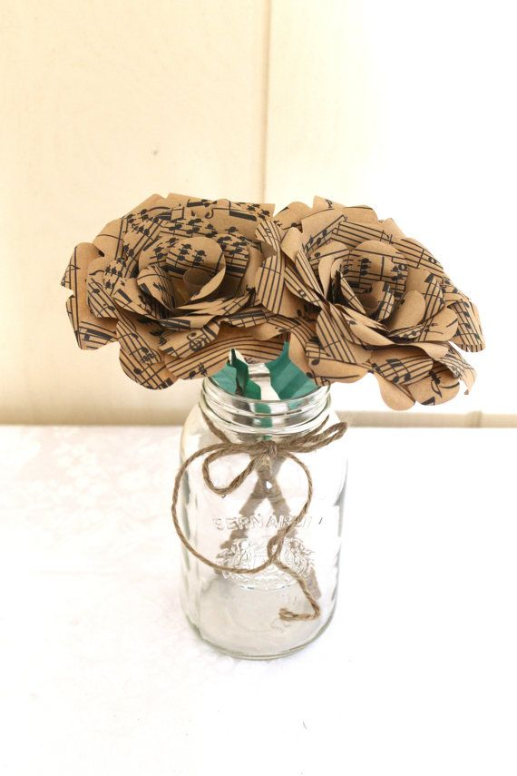 Sheet music flowers - perfect for #rusticweddings !  LIMITED EDITION Brown Sheet Music Paper by EverBloomsFlowers, $6.00