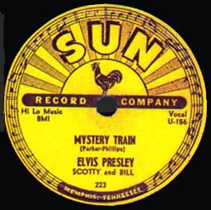 Sam designed his original 78 Sun record label with the rooster but when the 45 records were made it wouldn't fit on the label because of the larger center hole so it had to be omitted.