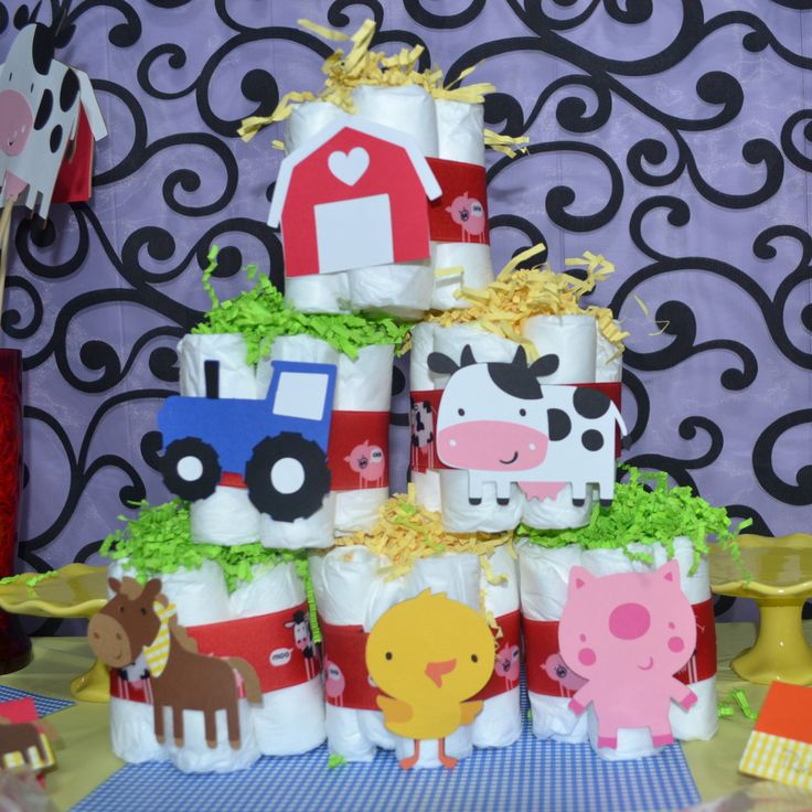 Down On the Farm / Barnyard Baby Shower 6 pc Mini Diaper Cake set.
