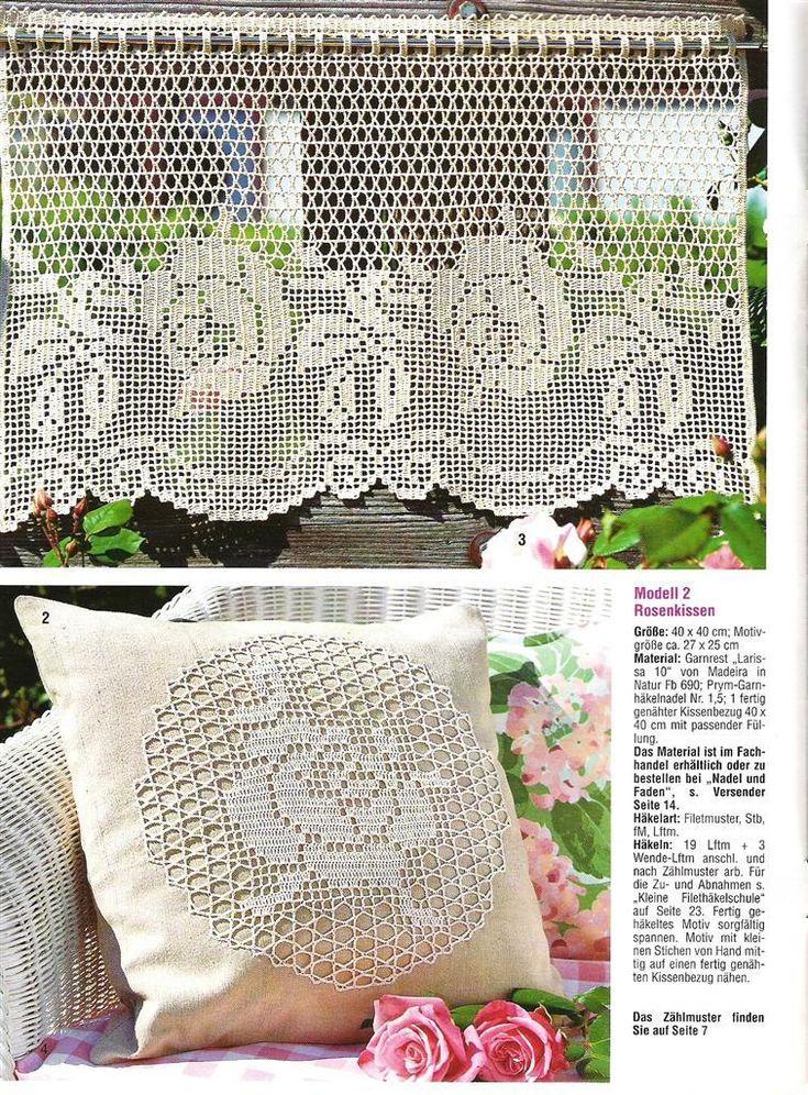 Kitchen curtain and cushion crochet set /Tig isi ornegi