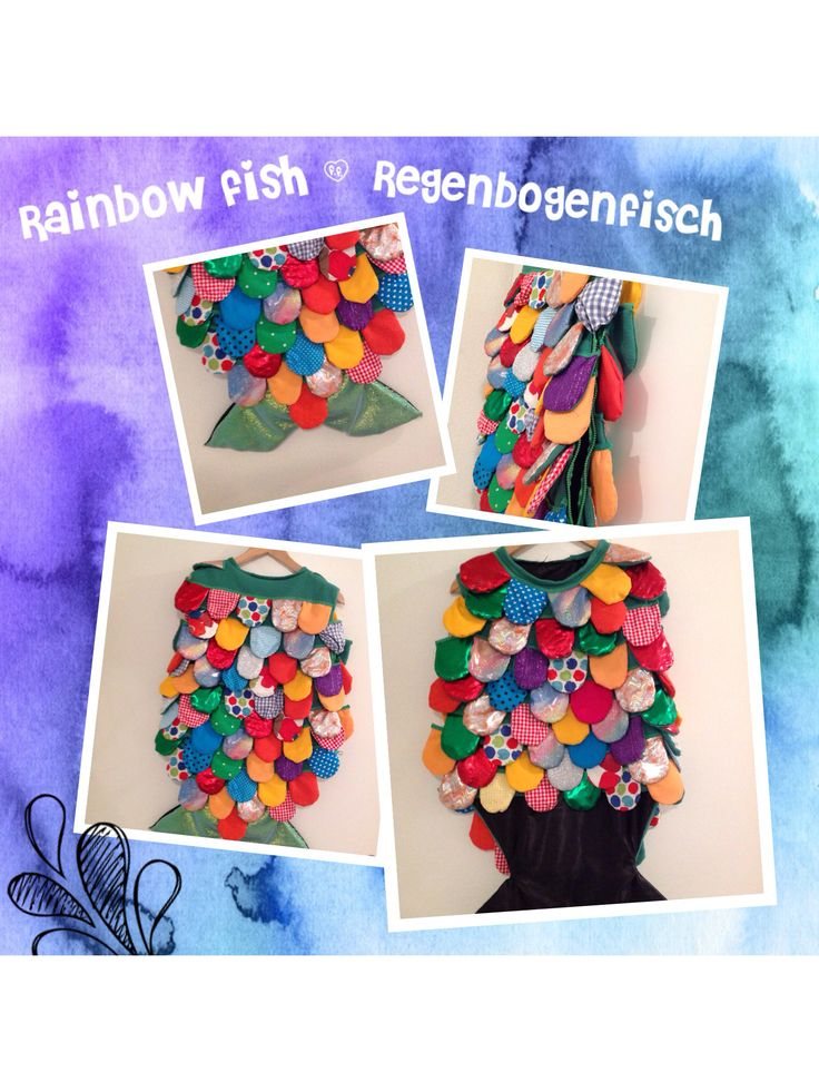 Rainbow fish / Regenbogenfisch  DIY Fasnachtskostüm Genäht aus IKEAs Fleecedecke Polarvide. Sewing with IKEA Polarvide.