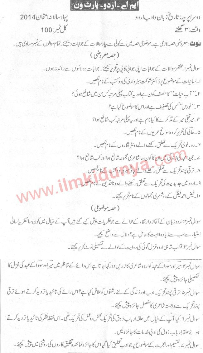 Past Papers 2014 Sargodha University MA Urdu Part 1 History