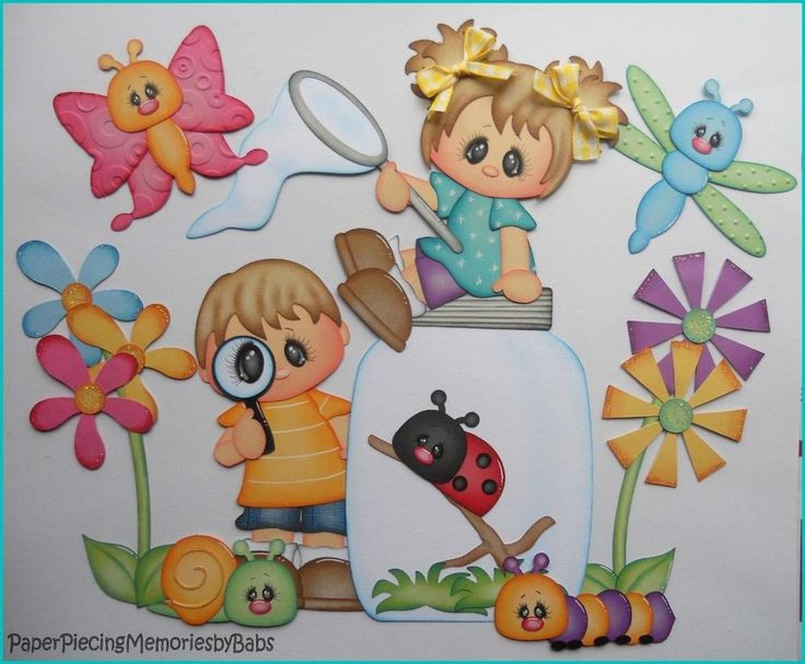 Premade Paper Pieced Little Buggers Girl and Boy Set for Scrapbook Pages-by Babs