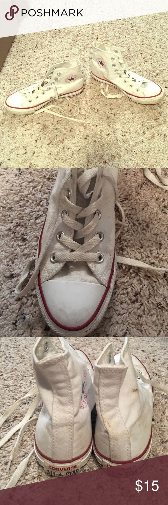 High top white converse High top white converse men's size 5, women's size 7! Some stains but would probably come out with bleach! Converse Shoes Athletic Shoes