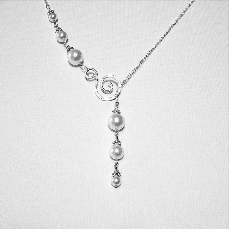 Drop Pearl Necklace, Lariat Necklace, Pearl and Crystal Necklace, Sterling Silver Wedding Jewelry, Swarovski Pearl Necklace, Swirl Necklace by BelleAtelierJewelry on Etsy https://www.etsy.com/listing/540912609/drop-pearl-necklace-lariat-necklace