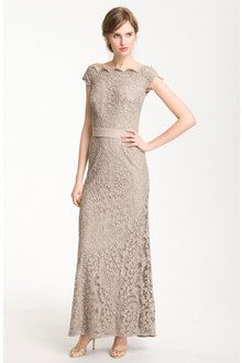 Tadashi Shoji Lace Overlay Off Shoulder Gown - I love this vintage look <3