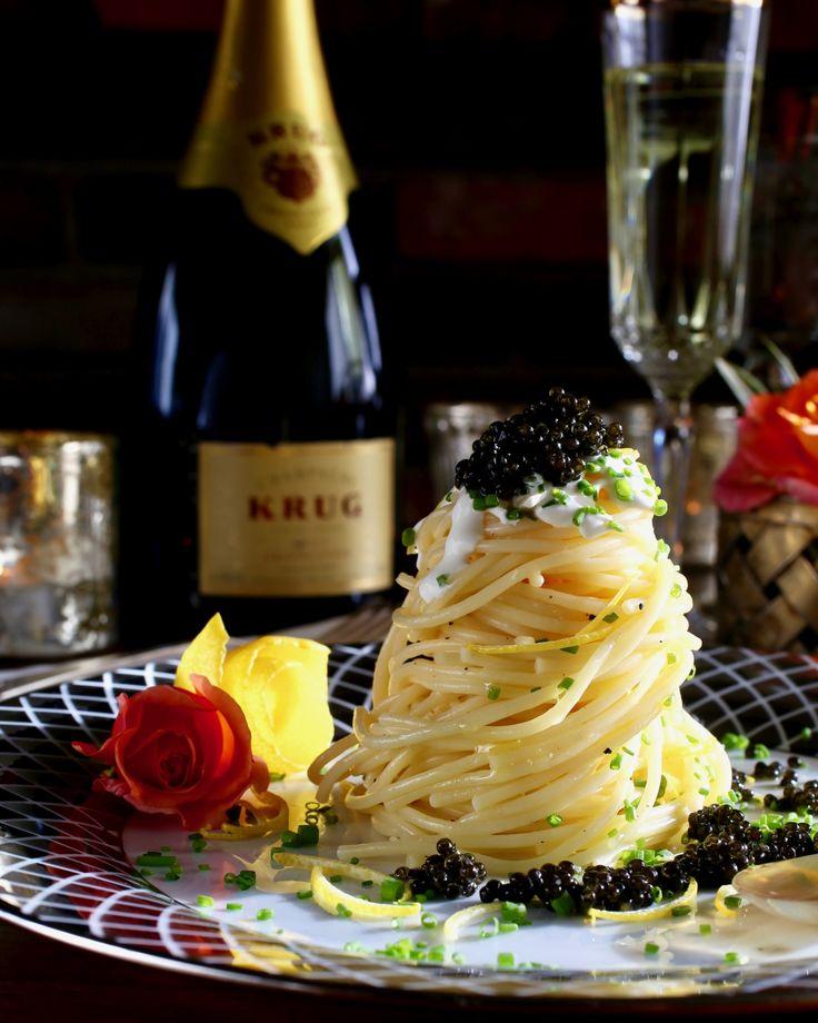 Lemon Butter Spaghetti Tower with Caviar, Creme Fraiche, Chives